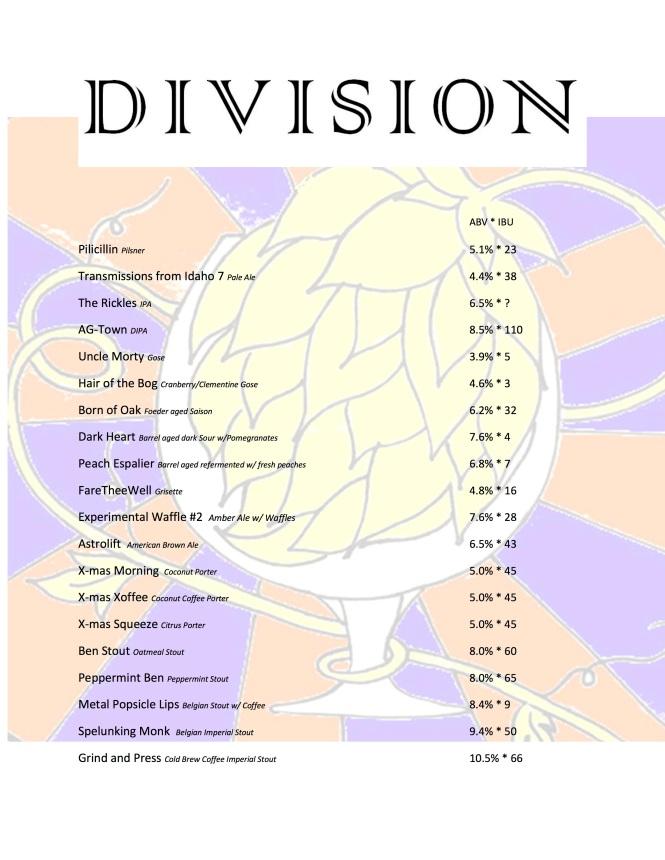 Division Beer List