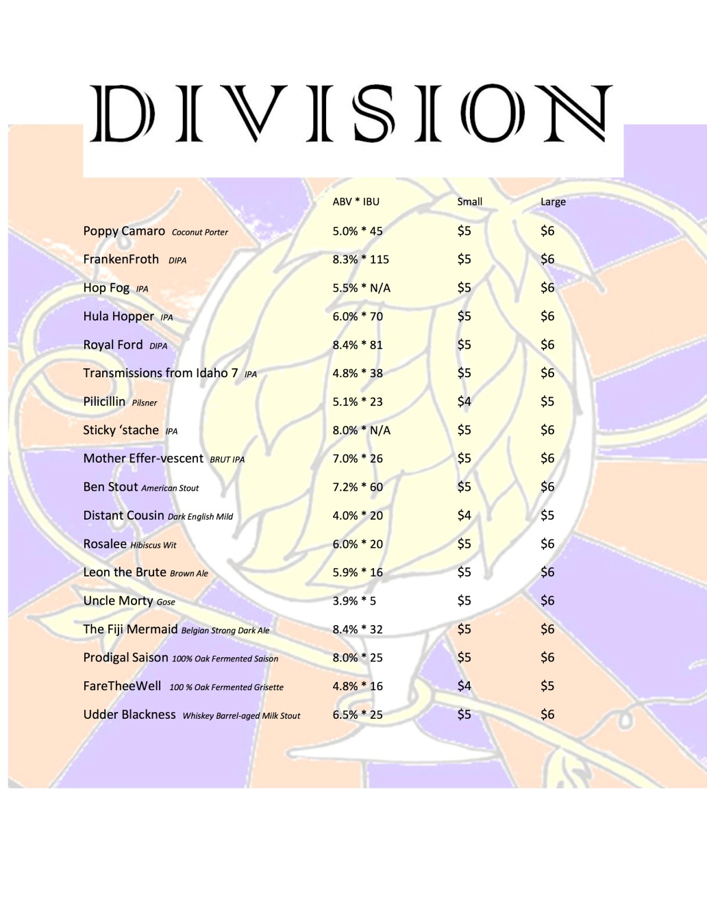 Division Beer Pricing